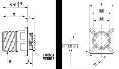 Base con 4 tornillos de fijación